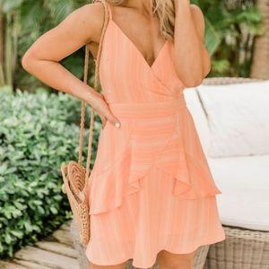Pink Lily Orange Ruffled Dress